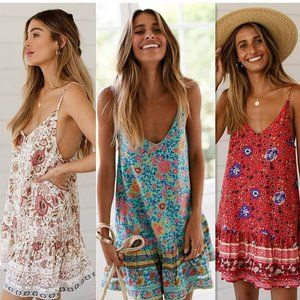 Dresses & Skirts - Boho Chic Gypsy Floral Print CAmi Dress - red